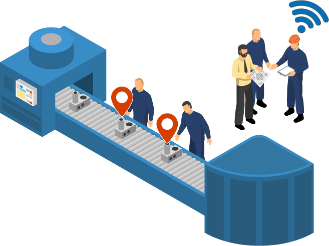 Illustrates asset tracking Solution in Manufacturing and Logistics